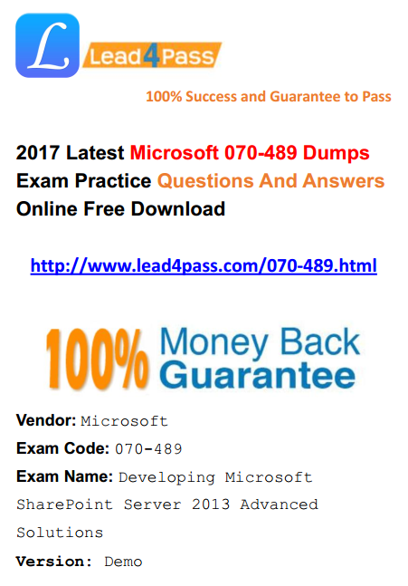 Microsoft - Free Latest Lead4pass IT Exam Dumps Questions And Answers
